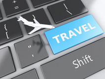 Travel and airplane on computer keyboard. Travel concept. 3d renderer illustration. airplane and travel on computer keyboard. Travel concept Stock Photography