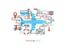 Travel by airplane flat line illustration vector illustration
