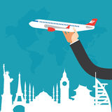 Travel by airplane, vacation, adventure. Stock Images