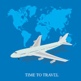Travel, airplane, world map, vector illustration in flat style Royalty Free Stock Photography
