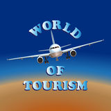 Travel by airplane. The world of tourism. Vector image. Symbol, emblem Stock Photography
