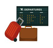 Travel airplane world trip flight vector icon of traveler luggage bag and airport schedule. Travel or air world trip vector flat icon of traveler luggage bag and Royalty Free Stock Image
