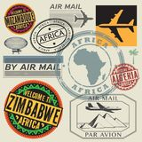 Travel and airport stamps or symbols set, Africa Royalty Free Stock Photos