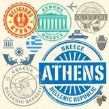 Travel stamps or symbols set Greece. Travel or airport stamps or symbols set Greece theme, vector illustration Stock Photo