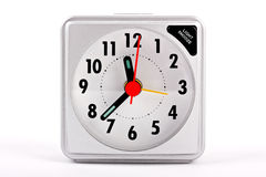 Travel alarm clock on white background Royalty Free Stock Images