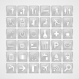 Travel aluminum icons Stock Photos