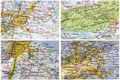 Travel America road maps stock image