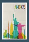 Travel Americas landmarks skyline vintage poster Royalty Free Stock Image