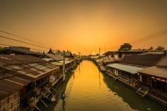 Travel Amphawa Floating market village at sunset , Samut Songkhram, Thailand. Travel Amphawa Floating market village at sunset , Samut Songkhram Province royalty free stock photography