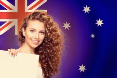 Travel And Study In Australia Concept With Pretty Girl Student With Australian Flag Background Royalty Free Stock Photos