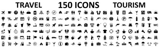 Travel And Tourism Set 150 Icons, Vocation Signs For Web Development Apps, Websites, Infographics, Design Elements – Vector Stock Images
