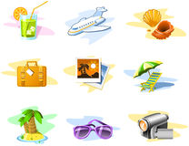 Travel And Vacation Icons Stock Photography