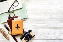 Travel And Wanderlust Concept, Planning Summer Vacation Background Flat Lay, Space For Text. Map Compass Photo Camera Sunglasses Royalty Free Stock Photos
