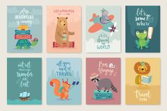 Travel Animals card set, hand drawn style,. Stock Photos