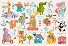 Travel Animals hand drawn style, Calligraphy and other elements. Vector illustration royalty free illustration