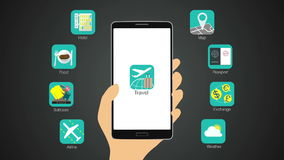 Travel application function for smart phone,mobile. Travel application function for smart phone stock video footage