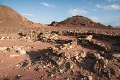 Travel in Arava desert. Timna geological park for tourists in Israel Stock Photo