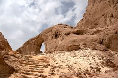 Travel in Arava desert. Timna geological park for tourists in Israel Stock Images