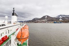 Expedition with a ship in the Arctic of Svalbard, Norway. Travel in the Arctic with a expedition vessel, Svalbard, Norway stock photography