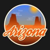 Travel Arizona destination retro round icon Stock Photo