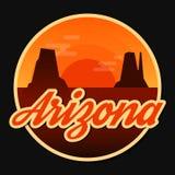Travel Arizona destination retro round icon Royalty Free Stock Photography