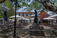 Travel around Africa. Façade of authentic African hotel. 2018.02.24, Stone Town, Zanzibar, Tanzania. Travel around Africa. Façade of authentic African royalty free stock photography