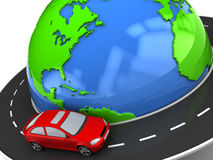 Travel around earth. 3d illustration of road around earth with red car Stock Photos
