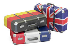 Travel around Europe concept, suitcases with flags of UK, German Royalty Free Stock Image