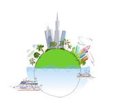 Travel around the planet illustration Stock Images