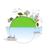 Travel around the planet illustration Royalty Free Stock Photo