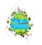 Travel around the planet illustration Royalty Free Stock Image
