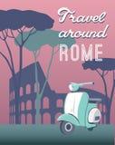 Travel around Rome retro postcard royalty free stock image
