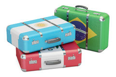 Travel around South America concept, suitcases with flags of Bra Stock Photos