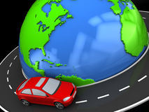 Travel around world. Abstract 3d illustration of road around earth and car Royalty Free Stock Photography