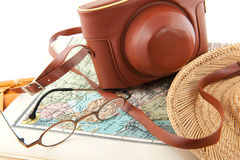 Travel around the world. With map glasses and camera royalty free stock image