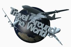 Travel around the world. 3D dimensional illustration with airplanes Stock Photo