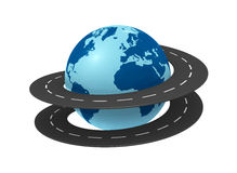Travel around the world. One earth globe with a road around it (3d render Royalty Free Stock Images