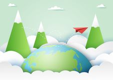 Red paper airplane flying on nature landscape background paper a. Travel around the world and adventure concept with red paper airplane flying on nature stock illustration