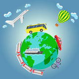 Travel around the world. By airplane, bus, aerostat, car, bicycle, train and ship. Vector illustration Royalty Free Stock Photo