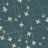 Travel around the world airplane routes seamless pattern, background, Endless texture can be used for wallpaper vector illustration