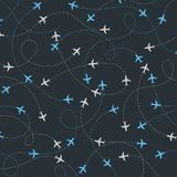 Travel around the world airplane routes seamless pattern vector illustration