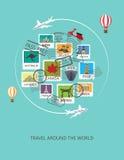 Travel around the world background, stock illustration