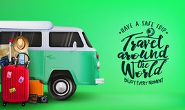 Travel Around the World Banner with 3D Realistic Travelling Van Car and Luggage Bag. Suitcase, Camera, Binoculars, Map, Magnifying Glass, Sunglasses, Car Key royalty free illustration