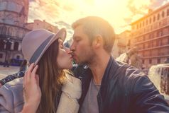 Travel around the world. City travel couple in old town stock photo