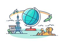 Travel around world. Concept of active rest and sightseeing. Vector illustration Stock Photography