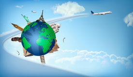 Travel around the world concept airplane illustration. Concept of travel around the world with representation of the globe and monuments around. Horizontal Stock Photography