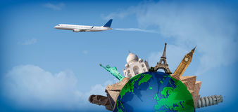 Travel around the world concept airplane. Concept of travel around the world with representation of the globe and monuments around Stock Photos