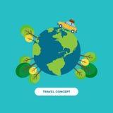 Travel around the world concept flat design Stock Photography