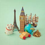 Travel around the world concept. Souvenir form around the world. Retro filter effect stock photography