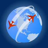 Travel around the world with flights. Vector illustration of the earth with stylized airplanes flying around it as travel icon or commercial background stock illustration